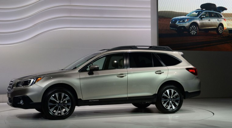 The 2015 Suburua Outback is introduced at the 2014 New York Auto Show April 17, 2014 at the Jacob Javits Center in New York. The auto show opens to the public on April 18, and runs through the 27th. (Don Emmert/AFP/Getty Images)