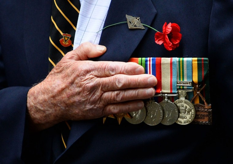 An Australian war veteran takes part in the annual ANZAC Day Parade in Sydney on April 25, 2014. Anzac Day commemorations are held on this day each year to mark the anniversary of the ill-fated landing of the Australian and New Zealand Army Corps (ANZAC) at Gallipoli in World War I. peter Parks/AFP/Getty Images)