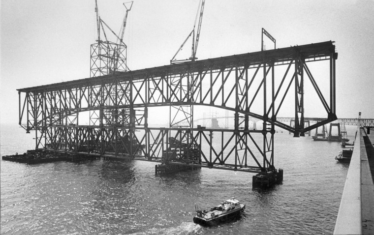 In July 1971, a truss span is moved into position as construction for the second span of the Chesapeake Bay Bridge was underway. (Lloyd Pearson/Baltimore Sun)