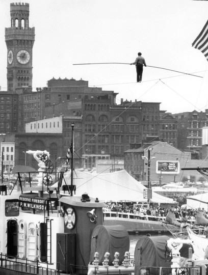 In September 1973, Karl Wallenda took a walk 60 feet above the harbor as the first attraction of the fourth Baltimore City Fair. (Lloyd Pearson/Baltimore Sun)