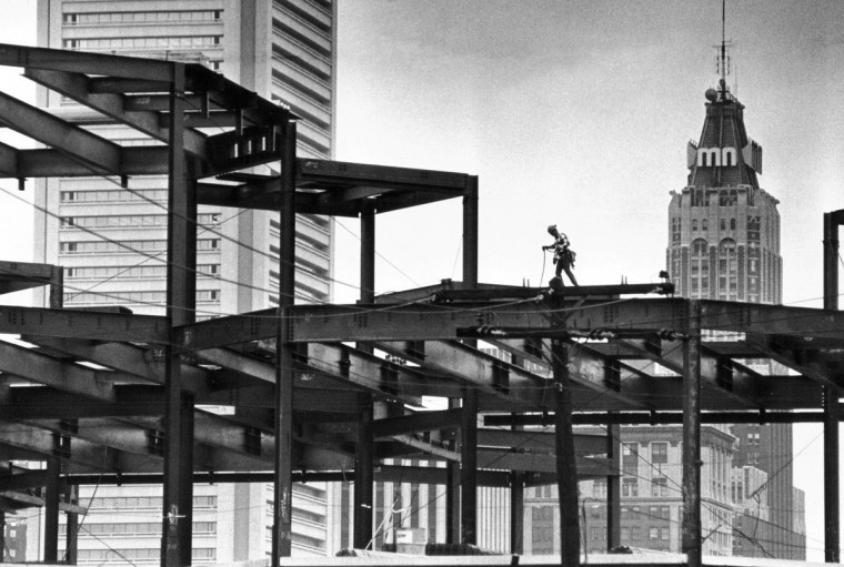 In August 1973, as viewed from William Street just off Key Highway, construction was taking place for the newest addition to Baltimore's skyline, as steel framing for the Maryland Sciences Center building was underway. It was the first of several educational facilities that were being added to Inner Harbor area. (Lloyd Pearson/Baltimore Sun)