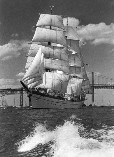 In July 1976, the German ship Gorch Fock was under full sail as she moved out of Baltimore harbor and down the Chesapeake Bay. The tall ship was part of the parade of sail making its way to New York City for the 1976 Bicentennial Celebration. (Lloyd Pearson/Baltimore Sun)