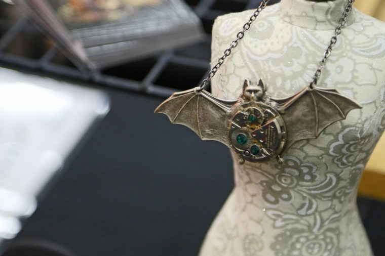 Many different vendors sold handmade jewelry and clothing at the Baltimore Tattoo Convention this past weekend. This mechanical bat was done by Mechanique Macabre. Over one hundred tattoo artists came from around the country to participate in the annual event. (Kaitlin Newman/Baltimore Sun)