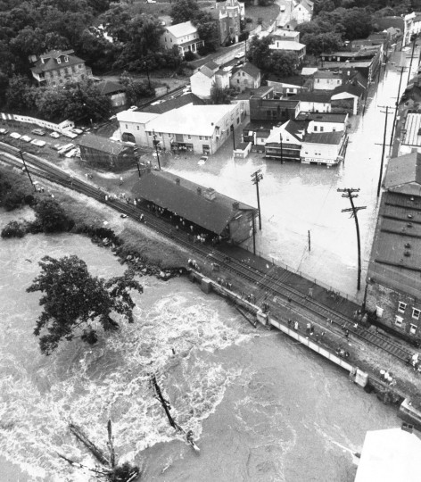 In June 1972, these aerial views of downtown historic Ellicott City show the high waters the day after Tropical Storm Agnes hit the area. (Lloyd Pearson/Baltimore Sun)
