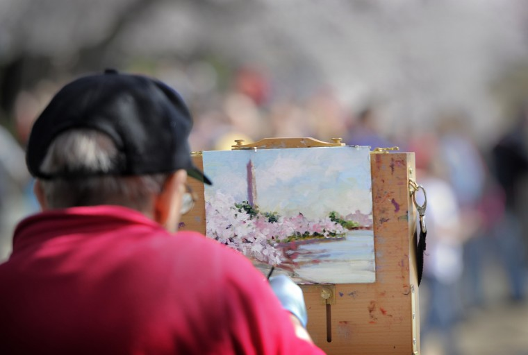 Alice Kale of Alexandria, Va., works on an oil painting of cherry blossoms and the Washington Monument along the Tidal Basin. (Kim Hairston/Baltimore Sun)