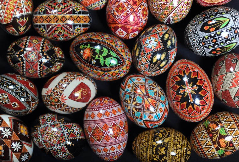 "Halyna Mudryj decorated these pysanky eggs. Pysanky comes from the Ukrainian word, ""pysaty,"" which means ""to write."" Pysanky are intricately decorated Ukrainian eggs with symbols. The custom dates back over 2,000 years. (Algerina Perna/Baltimore Sun)"