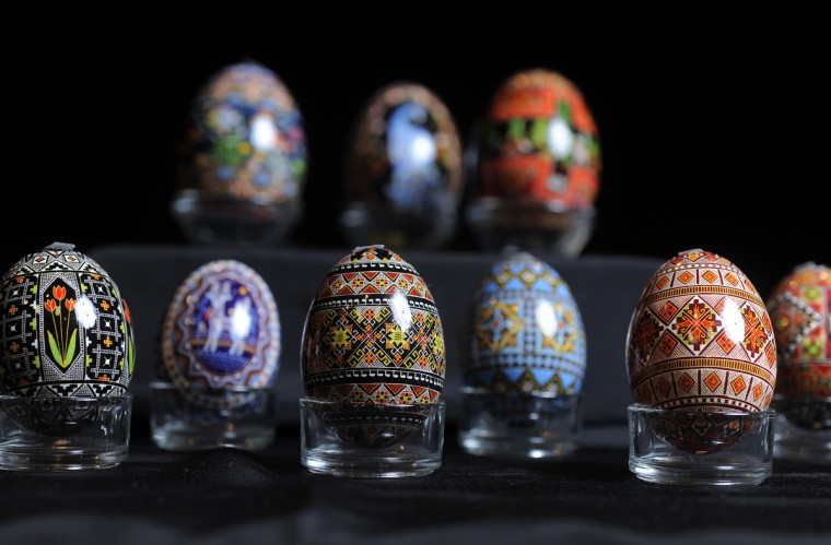 These are a sampling of eggs decorated by Halnyn Mudryi who holds Pysanky classes periodically at the Creative Alliance and elsewhere. (Algerina Perna/Baltimore Sun)