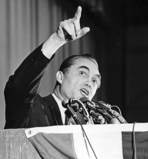 In May 1972, Alabama Gov. George Wallace delivered a campaign speech in the parking lot of Laurel Shopping Center, before he stepped into the crowd to shake hands and was then shot by Arthur Bremer. (Lloyd Pearson/Baltimore Sun)