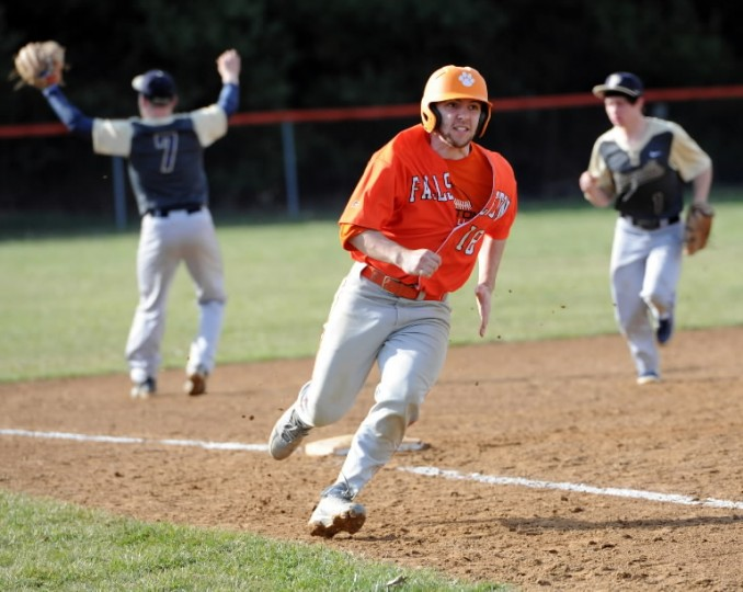 Fallston's Adam Adolfo rounds third and focuses on home during Wednesday's home game against Perryville. (Matt Button/BSMG)