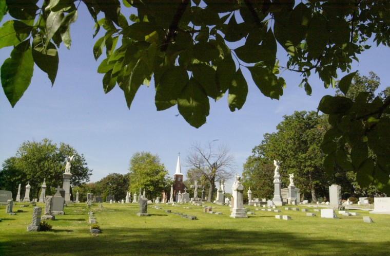 This is the German Lutheran cemetery on Grindon Ave. in Lauraville. Jeff Sattler, the Executive Director of The Neighborhoods of Greater Lauraville, Inc., was instrumental in getting the community to be in the nominating process for the National Register of Historic Places. (Algerina Perna/Baltimore Sun/Oct. 10, 2001)