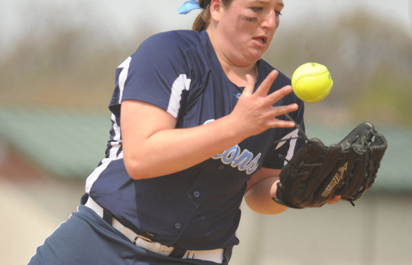Howard pitcher Kayli Paugh watches the ball land in her glove for an infield pop out during a softball tournament at Bachman Sports Complex on Saturday, April 19. (Brian Krista/BSMG)