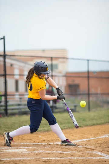 River Hill's Kinsey Johnson swings at a pitch during the game against Atholton Thursday, April 3. (Nate Pesce/BSMG)