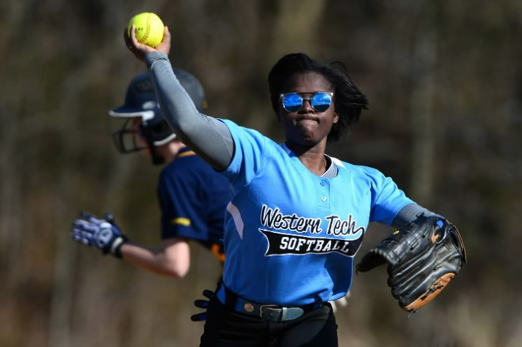 Sheena McKnight of Western Tech throws the ball to first base. (Matt Hazlett/BSMG)