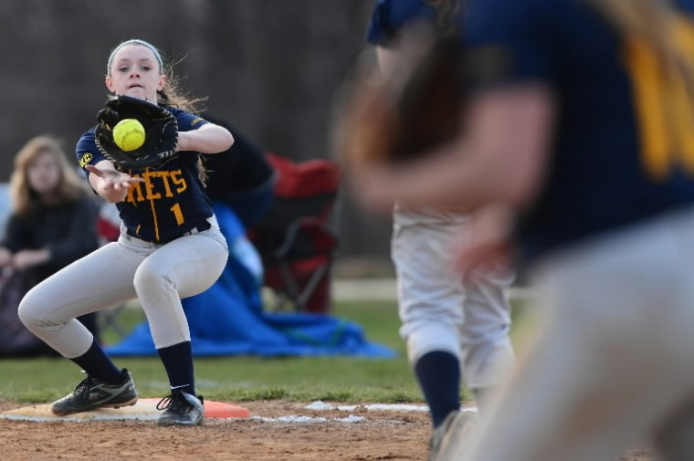 Leann Tyler of Catonsville makes the out at first base during a game April 9 vs. Western Tech. (Matt Hazlett/BSMG)