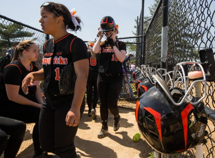 Eastern Tech players walk into the dugout after an inning at bat vs. Seton Keough April 12. (Nate Pesce/BSMG)
