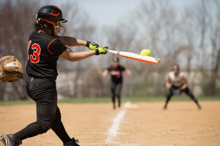 Eastern Tech's Giselle Alvarez connects with the ball during a game against Seton Keough April 12. (Nate Pesce/BSMG)