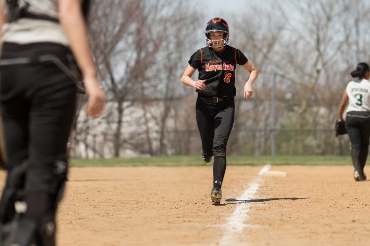 Eastern Tech's Katie Gettier runs for home plate during a game against Seton Keough, April 12. (Nate Pesce/BSMG)
