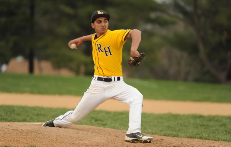 River Hill pitcher Rohan Tilva during a baseball game at Mt. Hebron High School in Ellicott City on Friday, April 11. (Brian Krista/BSMG)