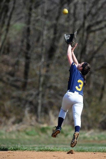 Sarah Arndt of Catonsville catches a fly ball vs. Western Tech April 9. (Matt Hazlett/BSMG)