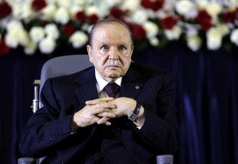 President Abdelaziz Bouteflika looks on during a swearing-in ceremony in Algiers April 28, 2014. Bouteflika was sworn in for a fourth term on Monday after easily winning an election opponents dismissed as fraudulent to re-appoint the ailing independence veteran after 15 years in power. (Louafi Larbi/Reuters)