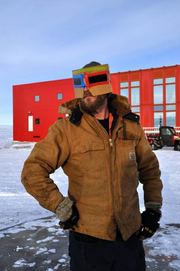 A staff member at the Australian Antarctic Division's Casey Station wears a protective mask to watch a solar eclipse at Vincennes Bay in Antarctica. The annular eclipse was visible from Antarctica and some areas in the southern Indian Ocean, with just a partial eclipse visible in Australia. It was one of just two solar eclipses in 2014. (Australian Antarctic Division/Handout via Reuters)