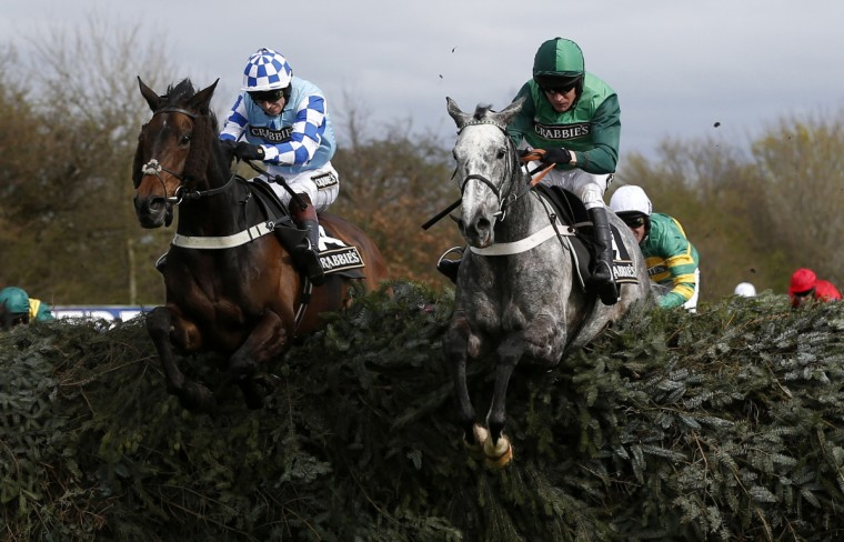 Ma Filleule (R), ridden by Barry Geraghty, clears the open ditch on the way to winning the 'Supporting The Everton In The Community Steeple Chase' during the Grand National horse racing meeting at Aintree, northern England. (Russell Cheyne/Reuters photo)