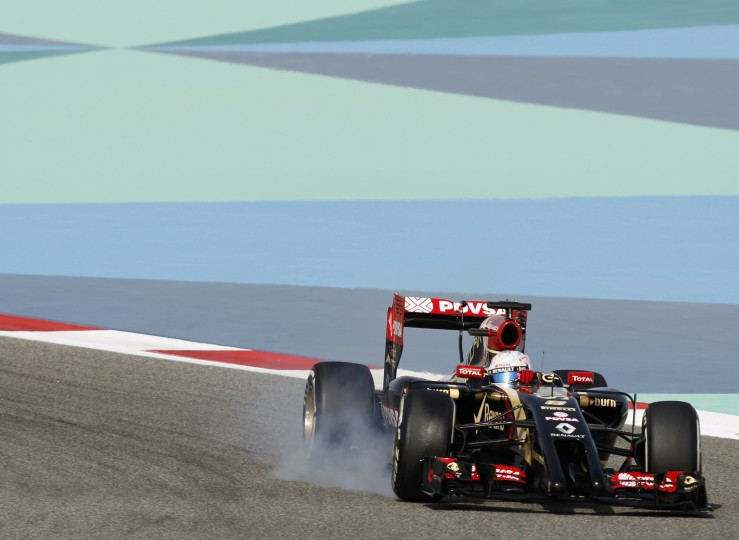 Lotus Formula One driver Romain Grosjean of France drives during the first practice session of the Bahrain F1 Grand Prix at the Bahrain International Circuit (BIC) in Sakhir, south of Manama April 4. || PHOTO CREDIT: THAIER AL-SUDANI - REUTERS