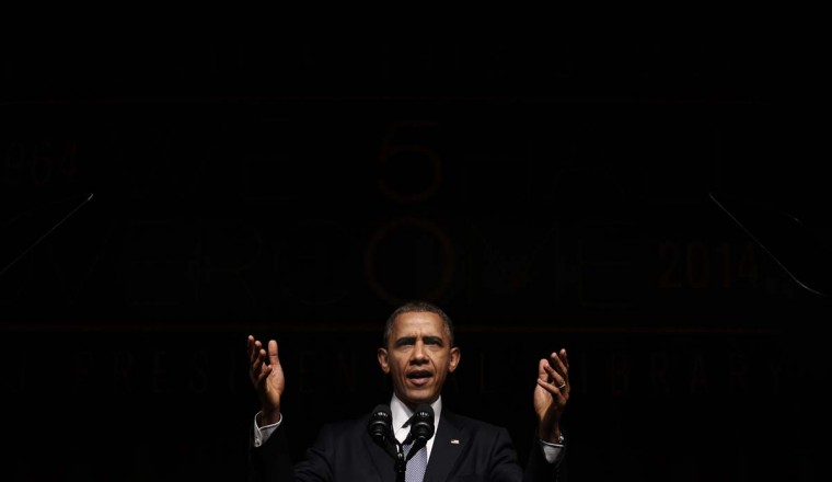 U.S. President Barack Obama speaks at a Civil Rights Summit to commemorate the 50th anniversary of the signing of the Civil Rights Act at the LBJ Presidential Library in Austin, Texas April 10, 2014. (Kevin Lamarque/Reuters)