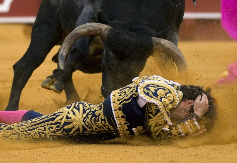 Spanish matador Manuel Escribano is tackled by a bull during a bullfight at The Maestranza bullring in the Andalusian capital of Seville, southern Spain April 20, 2014. (Marcelo del Pozo/Reuters)