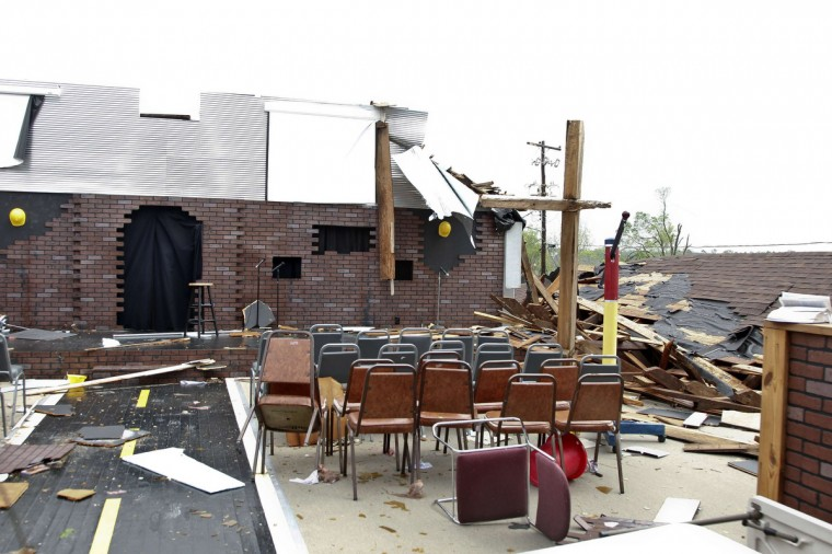 The Kimberly Church of God is seen after it was hit by a tornado in Kimberly, Alabama, April 29, 2014. At least 30 people across six states have been killed by a vicious storm system that unleashed dozens of tornadoes and was threatening to cause more damage in heavily populated regions of the U.S. South on Tuesday. (Marvin Gentry/Reuters)