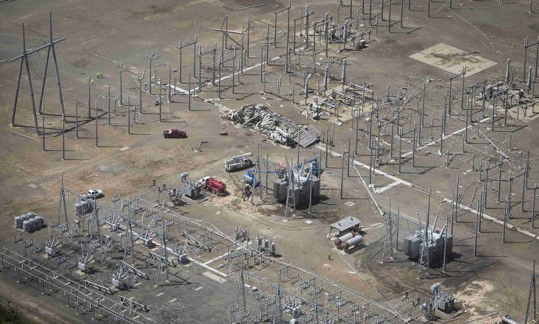 A damaged power station is pictured after a tornado hit Mayflower, Arkansas April 28, 2014. On a second day of ferocious storms that have claimed at least 21 lives in the southern United States, a tornado tore through the Mississippi town of Tupelo on Monday destroying homes and businesses, according to witnesses and emergency officials. Most of the deaths from the severe storm system occurred on Sunday when tornadoes tossed cars like toys in Arkansas and other states. (Carlo Allegri/Getty Images)