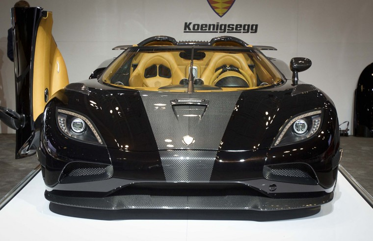 A Koenigsegg supercar is seen during a press event at the Jacob Javits Convention Center during the New York International Auto Show in New York April 17, 2014. (REUTERS/Carlo Allegri)