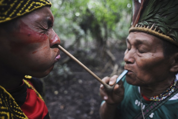 A spiritual leader of the Huni Kui Indian tribe blows an herbal powder into the nose of a tribal member during a ceremony outside the village of Novo Segredo along the Envira river of Brazil's northwestern Acre state. (REUTERS/Lunae Parracho)