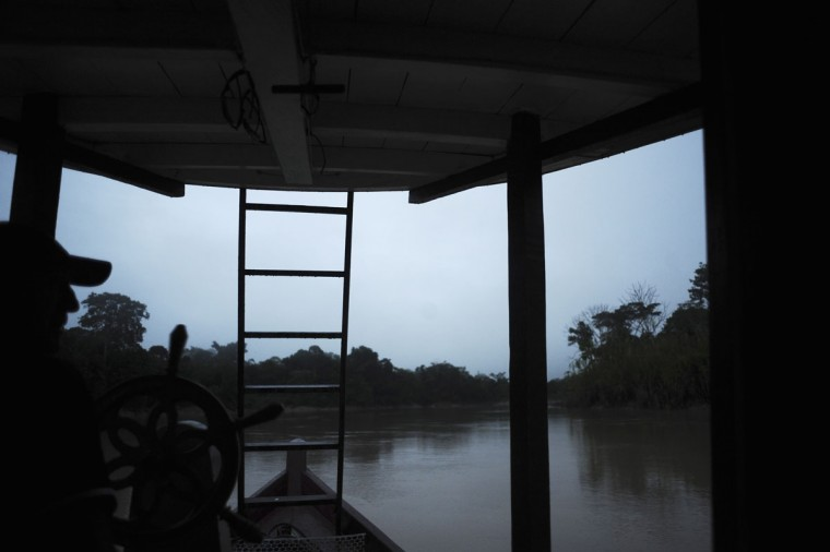 A view from inside a river boat on the Envira river near the Huni Kui tribe's village of Me Txanava in Brazil's northwestern Acre state. (REUTERS/Lunae Parracho)