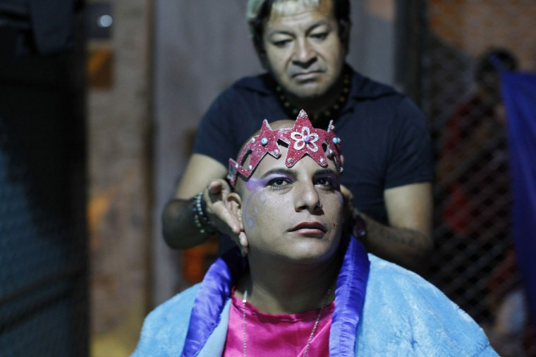 "An inmate receives make up backstage before taking part in the theatre play ""Jesus Christ Superstar"" at Sarita Colonia prison yard. (REUTERS/Enrique Castro-Mendivil)"