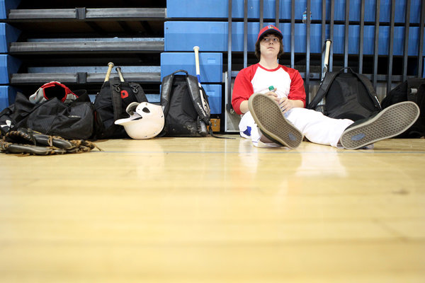 Lansdowne junior Jesse Tayman waits for the next baseball drill while the team practiced indoors. The team practiced in doors due to poor field conditions caused by the weather in the last week of March. (Jen Rynda/BSMG)