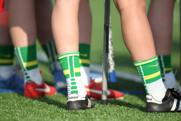 Wilde Lake players wear matching socks during the girls lacrosse game against Atholton at Wilde Lake High School in Columbia on Tuesday, April 22. (Jen Rynda/BSMG)