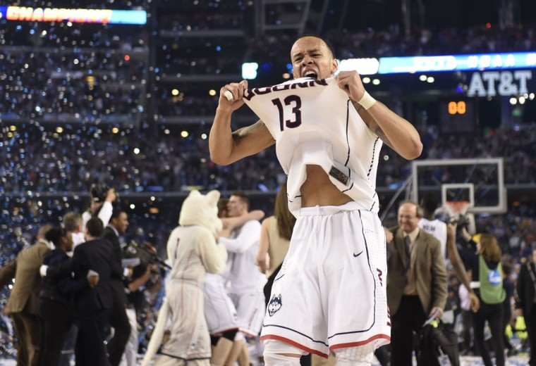 Connecticut Huskies guard Shabazz Napier (13) celebrate after defeating the Kentucky Wildcats 60-54 in the championship game of the Final Four in the 2014 NCAA Mens Division I Championship tournament at AT&T Stadium. Bob Donnan-USA TODAY Sports)Connecticut Huskies guard Shabazz Napier (13) celebrate after defeating the Kentucky Wildcats 60-54 in the championship game of the Final Four in the 2014 NCAA Mens Division I Championship tournament at AT&T Stadium. (Bob Donnan-USA TODAY Sports)