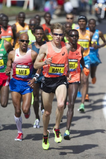 Elite runners Ryan Hall (middle), Josphat Boit (right) and Meb Keflezighi (left) race during the 2014 Boston Marathon. (David Butler II-USA TODAY Sports)