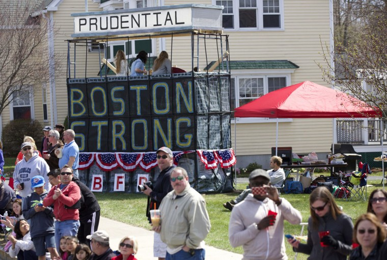 A makeshift Prudential Tower is erected by fans along the course during the 2014 Boston Marathon. (David Butler II-USA TODAY Sports)