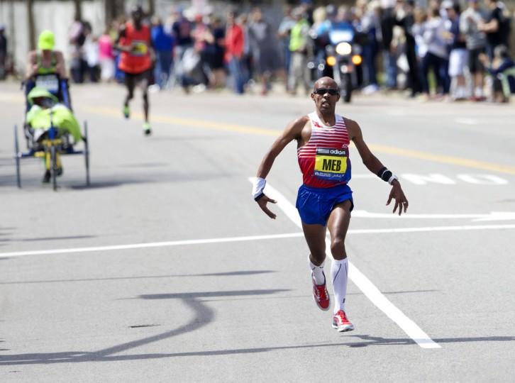 Winner Meb Keflezighi during the 2014 Boston Marathon. (David Butler II-USA TODAY Sports)