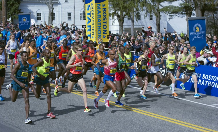A general view of the elite men's division start during the 2014 Boston Marathon. (Gregory J. Fisher-USA TODAY Sports)
