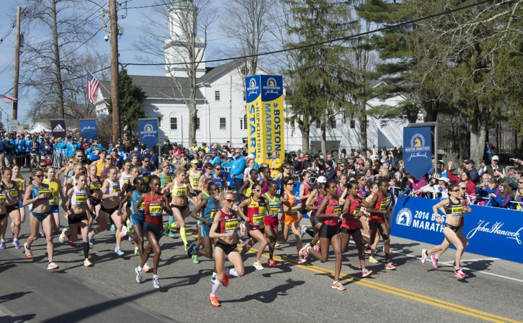 A general view at the start of the elite women's division race during the 2014 Boston Marathon. (Gregory J. Fisher-USA TODAY Sports)