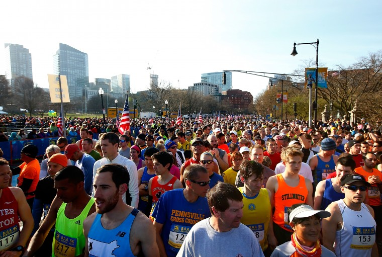 Competitors line up at the start line of the 2014 B.A.A. 5K on April 19, 2014 in Boston, Massachusetts. (Photo by Jared Wickerham/Getty Images)