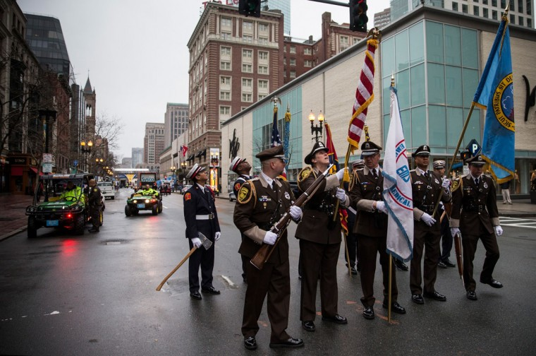 Members of the Boston Police Department, Boston Fire Department, and Massachusetts State Police practice marching prior to a wreath laying ceremony to commemorate the one year anniversary of the 2013 Boston Marathon Bombing, on April 15, 2014 in Boston, Massachusetts. Last year, two pressure cooker bombs killed three and injured an estimated 264 others during the Boston marathon, on April 15, 2013. (Photo by Andrew Burton/Getty Images)
