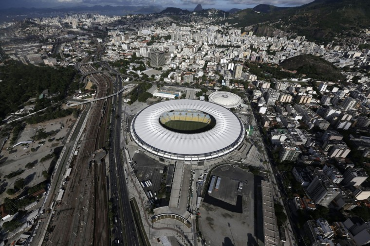 An aerial shot shows the Maracana stadium, one of the stadiums hosting the 2014 World Cup soccer matches, in Rio de Janeiro on March 28, 2014. (REUTERS/Ricardo Moraes)