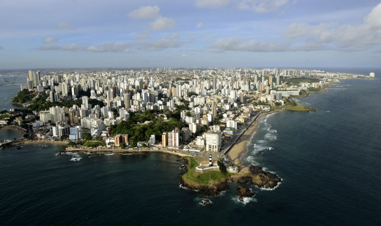 An aerial shot shows the city of Salvador in the northern state of Bahia, March 28, 2014. Salvador is one of the host cities for the 2014 soccer World Cup in Brazil. (REUTERS/Valter Pontes)