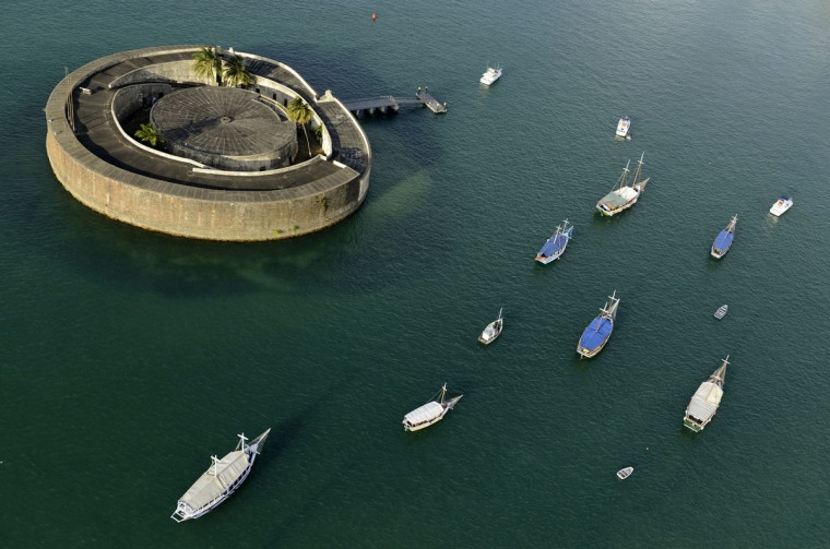 An aerial shot shows Sao Marcelo Fort in Salvador, in the northern state of Bahia, March 28, 2014. Salvador is one of the host cities for the 2014 soccer World Cup in Brazil. (REUTERS/Valter Pontes)