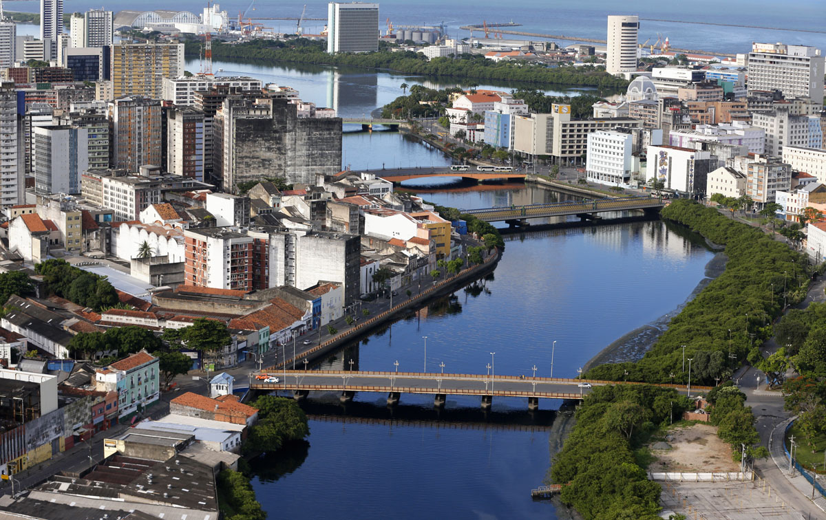 An aerial view of the city of Recife, northeastern Brazil, April 6