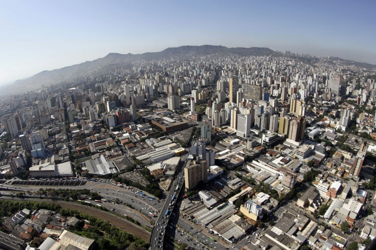 An aerial view of Belo Horizonte on April 9, 2014. Belo Horizonte is one of the host cities for the 2014 World Cup in Brazil. (REUTERS/Washington Alves)